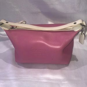 Coach pink leather cosmetic bag
